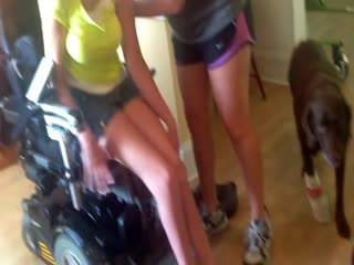 Kay transferring from manual to power chair